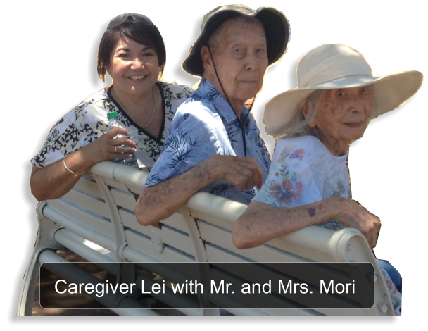 Caregiver Lei with Mr. and Mrs. Mori